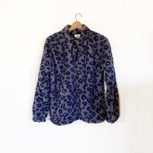 Grey & Black Leopard Print 1/4 Zip Sherpa Pullover